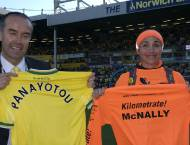 T-shirt exchange with David Mc Nally, Chief Executive Norwich City FC