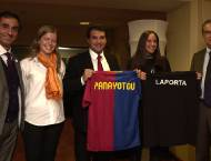 T-shirt exchange with President Joan Laporta in the boardroom of  FC Barcelona's  Camp Nou stadium - October 2009